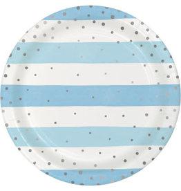 "creative converting Blue & Silver Celebration 9"" Plates - 8ct."