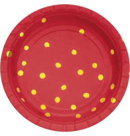 """creative converting Red w/ Gold Dots 7"""" Plates - 8ct."""