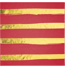 creative converting Red w/ Gold Stripes Lun. Napkins - 16ct.