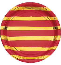 """creative converting Red w/ Gold Stripes 9"""" Plates - 8ct."""