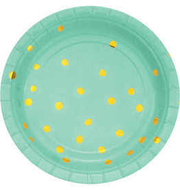 "creative converting Fresh Mint w/ Gold Dots 7"" Plate - 8ct."