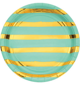 "creative converting Fresh Mint w/ Gold Dots 9"" Plate - 8ct."