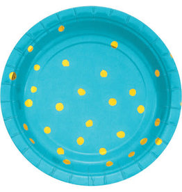 "creative converting Bermuda Blue w/ Gold Dots 7"" Plate - 8ct."