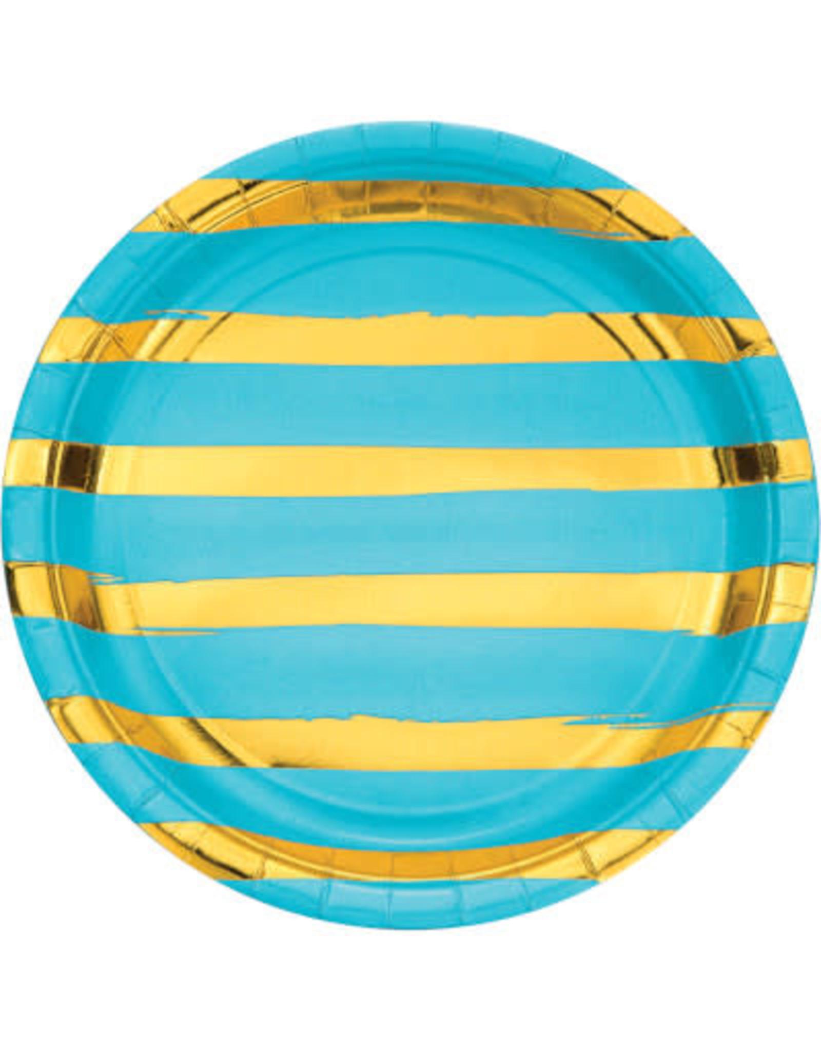 "creative converting Bermuda Blue w/ Gold Dots 9"" Plates - 8ct."