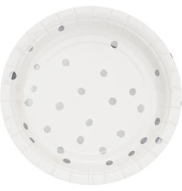 "creative converting White w/ Silver Dots 7"" Plates - 8ct."