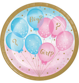 "creative converting Gender Reveal Balloons 7"" Plates - 8ct."