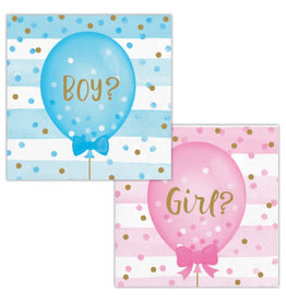 creative converting Gender Reveal Balloons Bev. Napkins - 16ct.