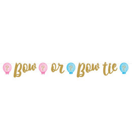 creative converting Bow or Bow Tie Gender Reveal Banner