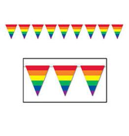 Beistle Rainbow Pennant Banner - 12ft.