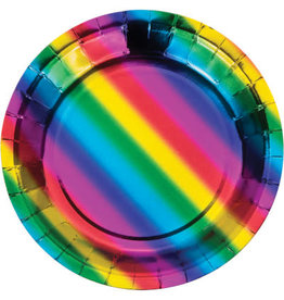 "creative converting Rainbow Foil 7"" Plate - 8ct."