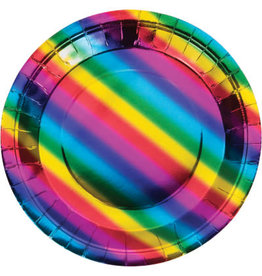 "creative converting Rainbow Foil 9"" Plate - 8ct."