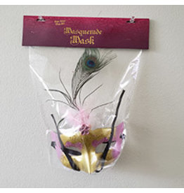 party club Pink & Gold  1/2 Face Masquerade Mask