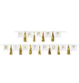 Beistle Gold Happy Birthday Banner - 6ft.