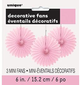"""unique Pink 6"""" Mini Fans Deco - 3ct."""