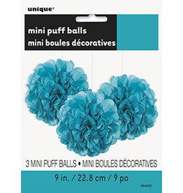 unique Teal Mini Puff Balls - 3ct