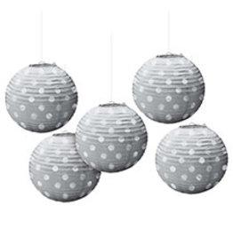 Amscan Silver Foil Dot Lanterns - 5ct.