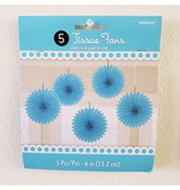 "Amscan Caribbean Blue 6"" Tissue Fans - 5ct."
