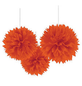 "Amscan Orange 16"" Fluffy Decorations - 3ct."