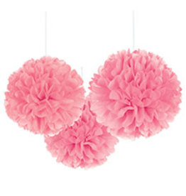 """Amscan Bright Pink 16"""" Fluffy Decorations - 3ct."""