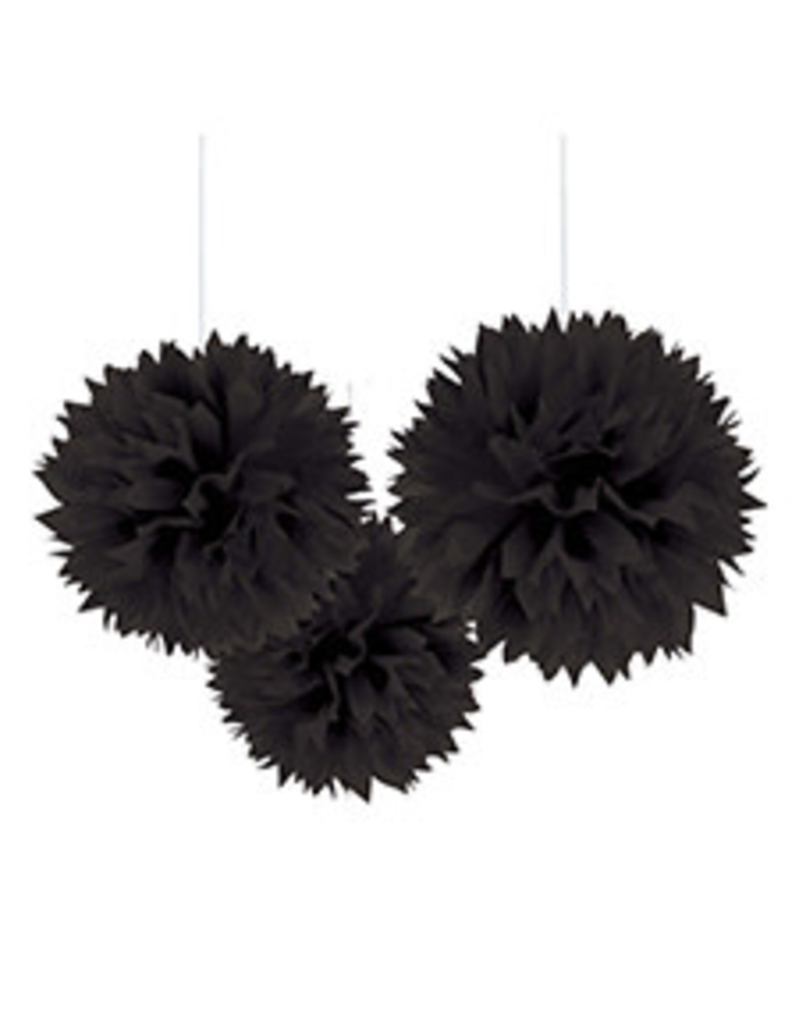 "Amscan Black 16"" Fluffy Decorations - 3ct."