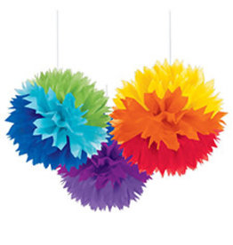 "Amscan Rainbow 16"" Fluffy Decorations - 3ct."