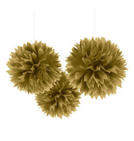 """Amscan Gold 16"""" Fluffy Decorations - 3ct."""
