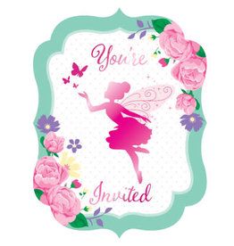 creative converting Floral Fairy Sparkle Invites - 8ct.