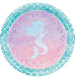 """creative converting Mermaid Shine 9"""" Plate - 8ct."""