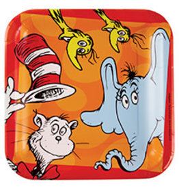 "Amscan Dr. Seuss 9"" Sq. Plates - 16ct."