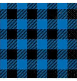 creative converting Blue/Black Buffalo Plaid Bev. Napkins - 16ct.