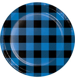 "creative converting Blue/Black Buffalo Plaid 7"" Plates - 8ct."