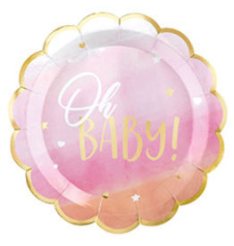 """Amscan Oh Baby Girl 10"""" Plates - 8ct."""