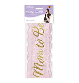 Beistle Pink Mom To Be Lace Sash