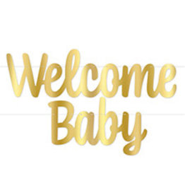 Beistle Welcome Baby Gold Banner - 4ft.