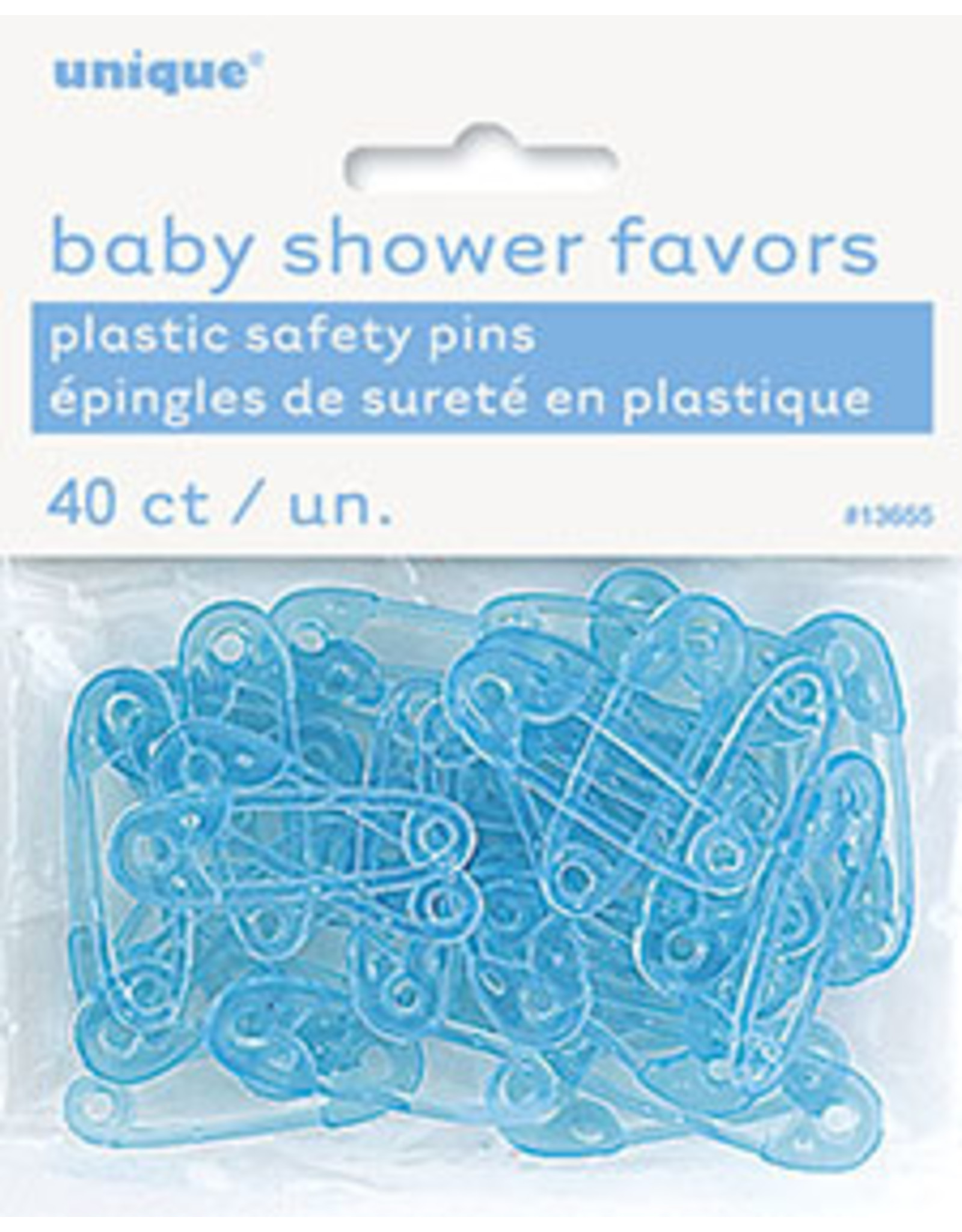 unique Baby Blue Safety Pin Favors - 40ct.