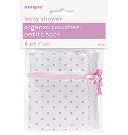 unique Pink Organza Favor Pouches - 6ct.