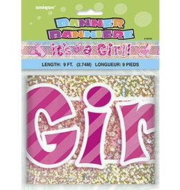unique It's A Girl Banner - 9FT