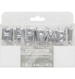 creative converting Silver Happy Birthday Pick Candles - 14ct.