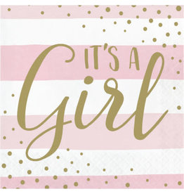 PPART Pink & Gold It's A Girl Lun. Napkins - 16ct.