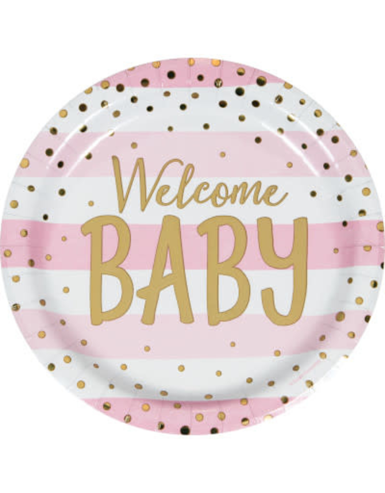 "PPART Pink & Gold 'Welcome Baby' 9"" Plates - 8ct."