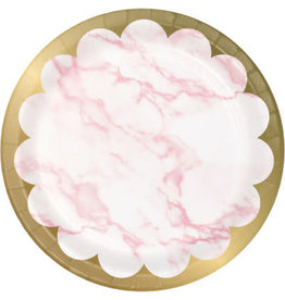 """creative converting Pink Marble 7"""" Plates - 8ct."""