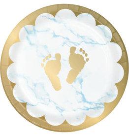 "creative converting Blue Marble Footprints 7"" Plates - 8ct."
