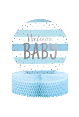 creative converting Blue & Silver 'Welcome Baby' Centerpiece