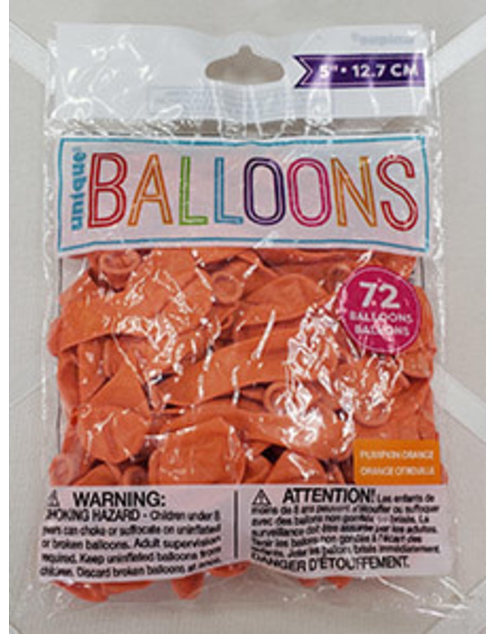"""unique 5"""" Orange Latex Balloons - 72ct."""