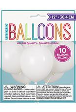 "unique 12"" White Latex Balloons - 10ct."