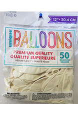 "unique 12"" Linen White Premium Balloons - 50ct."