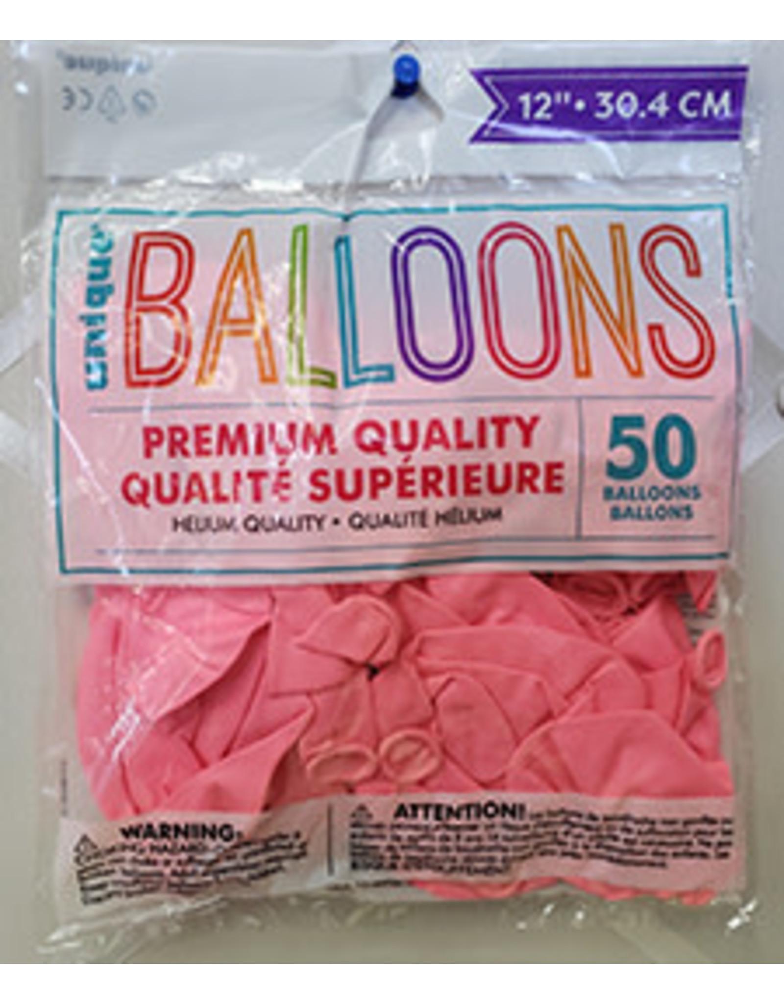 """unique 12"""" Powder Pink Premium Balloons - 50ct."""