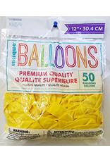 """unique 12"""" Lemon Yellow Prem. Balloons - 50ct."""