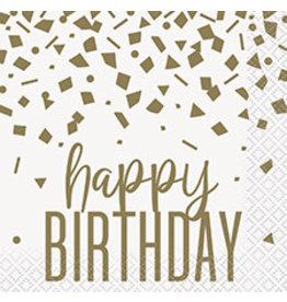 unique Confetti Gold Birthday Bev. Napkins - 16ct.
