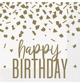 unique Confetti Gold Birthday Lun. Napkins - 16ct.